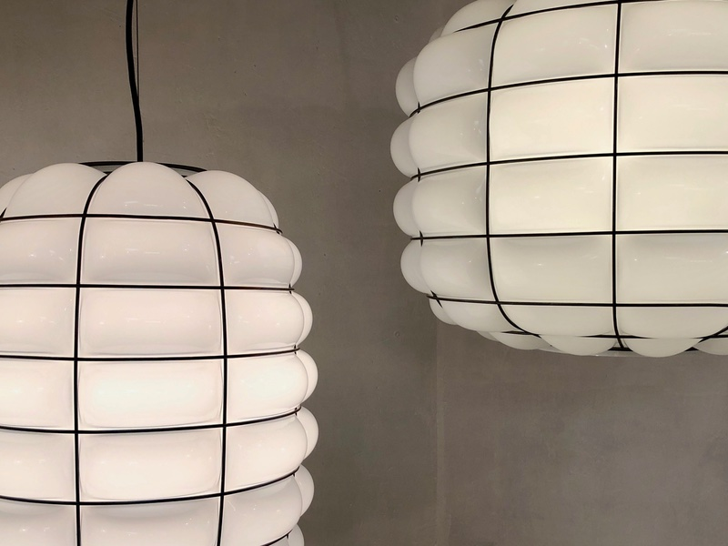 Modern lantern in white color