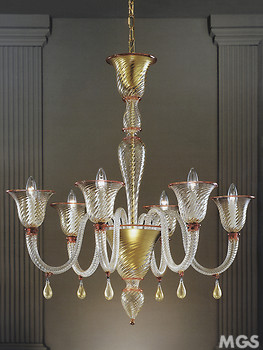 Rigadin chandelier at six lights