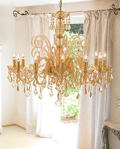 Bohemian crystal chandelier at twelve lights