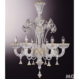 Filigree chandelier with gold decoration at six lights