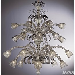 Chandelier in antique crystal at twentyfour lights