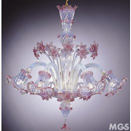 Chandelier in opal glass and pink decoration at five lights