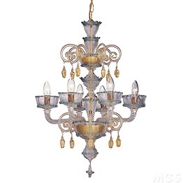 Chandelier with gold decoration at six lights