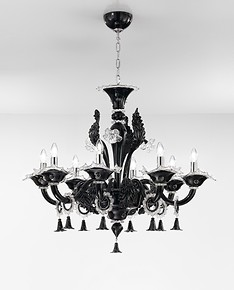 Crystal black chandelier at eight lights