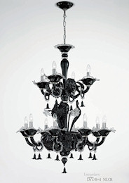 Crystal black chandelier at twelve lights