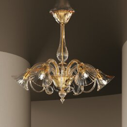 Crystal chandelier with gold decoration at five lights
