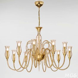 Modern Chandelier with amber decoration at ten lights