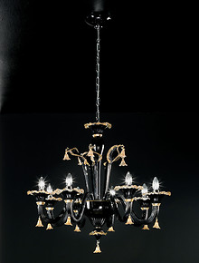 Black and gold chandelier at six lights