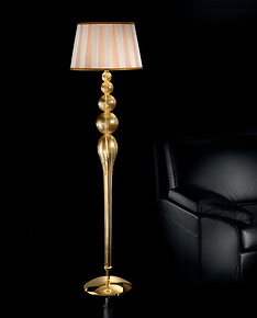 Crystal and gold floor standing light
