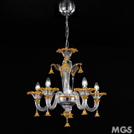 Crystal and Amber chandelier at five lights - MINI version