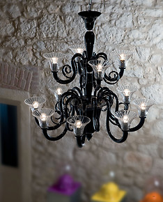 Black and crystal chandelier at nine lights