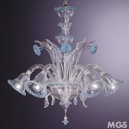 Crystal and azure chandelier