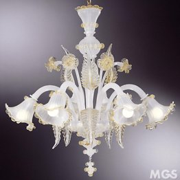 Silk color chandelier decorated with 24k gold