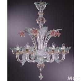 Chandelier with ruby gold and aquamarine details