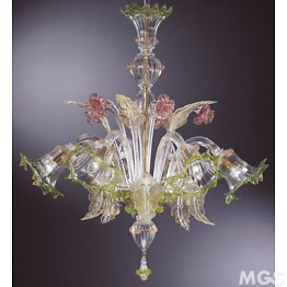 Chandelier with ruby gold and green details