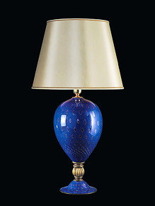 Table lamp in blu color with gold