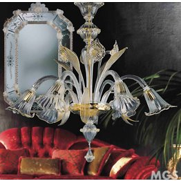 Crystal and gold six lights chandelier