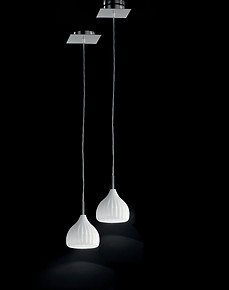 Modern suspended lamp in White milk