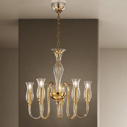 Modern chandelier with amber decoration at five lights