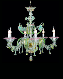 Crystal and gold Ca 'Rezzonico chandelier with pink and green decoration