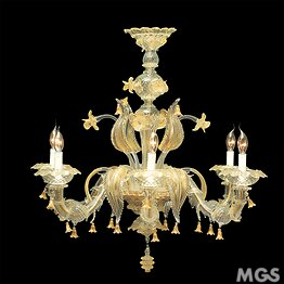 Crystal and gold Ca 'Rezzonico chandelier