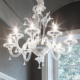 White and crystal chandelier at six lights