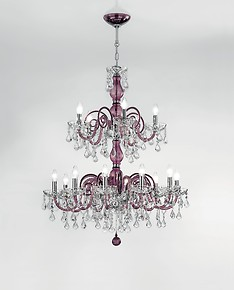 Red color chandelier with crystal details