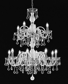 White color chandelier with crystal details