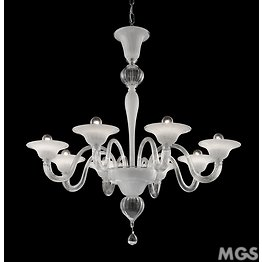 8166 series chandelier, 5 lights, white and crystal color