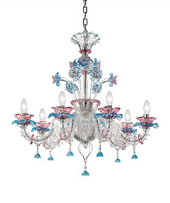 Ca' Rezzonico chandelier Easy model in pink and aquamarine color