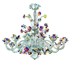 Crystal chandelier with colorful flowers at eight lights