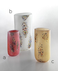 White vase with coloured spots