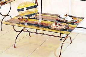 Glass console with amber bands