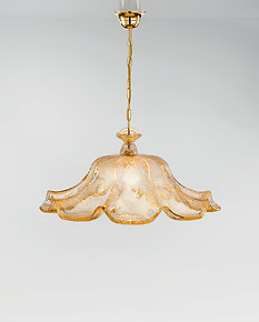Crystal chandelier with amber graniglia