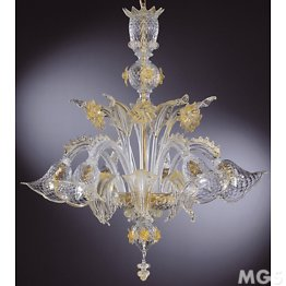 Crystal chandelier with gold