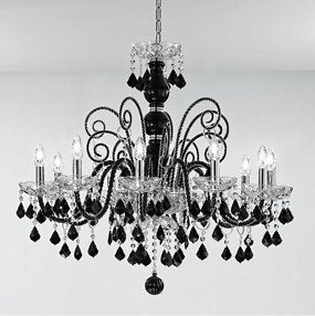 1059 bohemia series chandelier, 12 lights, crystal and black color