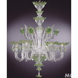 Crystal chandelier with green details