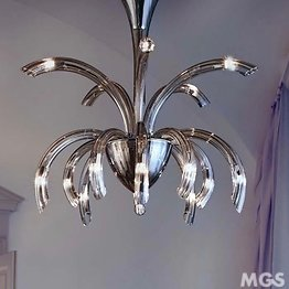Modern chandelier, 15 lights, smoked color