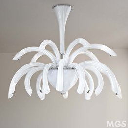 Modern chandelier in milk white color