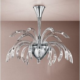 Modern chandelier in clear crystal