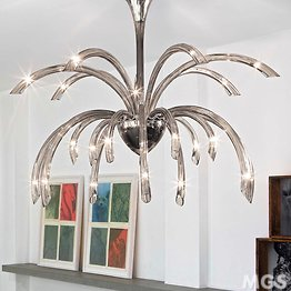 Modern chandelier, 21 lights, smoked color