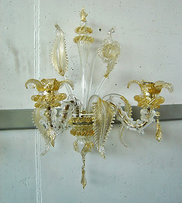 Wall light Roma in crystal and gold at three lights