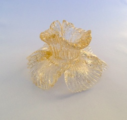 Crystal double cutted flower with gold