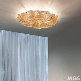 Ceiling lamp with amber graniglia