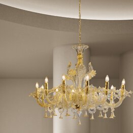 Crystal chandelier with gold at twelve lights
