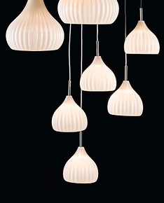 Modern suspended lamp in Ivory color