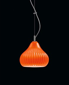 Modern suspended lamp in orange color