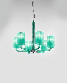 Chandelier with lampshades in ocean color