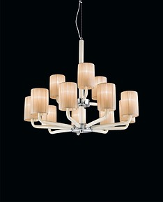 Chandelier with lampshades in smoked color