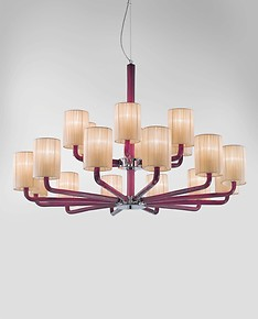 Chandelier with lampshades in milk white and amethyst